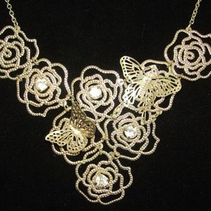 Jewelry - Vintage Butterfllies, roses, rhinestones necklace